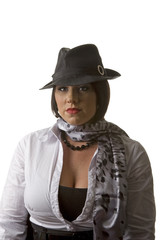 White Blouse and Scarf Black Hat