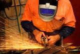 Tradesman grinding steel poster