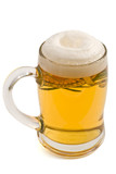 Full lager beer mug with foam isolated on white poster