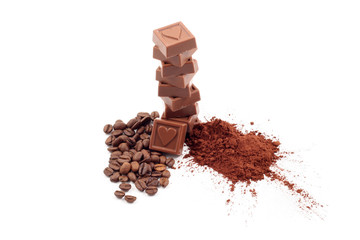 stack of chocolates cocoa and coffee isolated on white