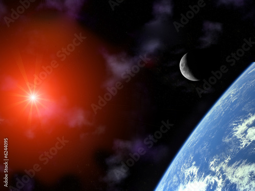 planet earth with  moon and sun over universe sky illustration