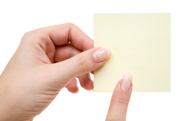 Pointing at a Yellow Note