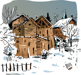 Paysage savoyard sous la neige