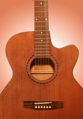 Very beautiful acoustic guitar. A fragment