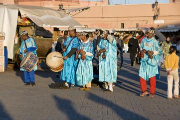 groupe de musiciens Marocains, Marrakech, Maroc.