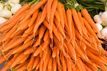 Bunch of Orange Organic Carrots..