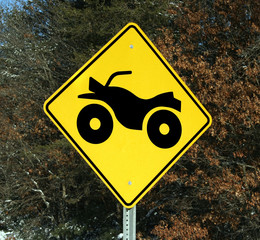 warning sign for four wheeler crossing