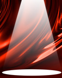 Red drapery with spotlight poster