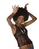 African American girl dancing ,  with afro hairstyle