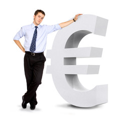 euro currency sign with a business man leaning on it