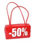 red leather handbag with red sale sign on white  poster
