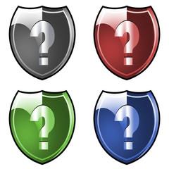 Shield. Armor. Question mark.