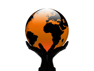 World in my hand red/orange