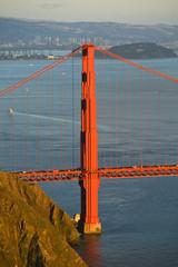 Golden Gate bridge with Treasure Island in the background