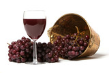 Red grapes and a glass of red wine - Fine Art prints