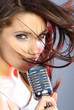 Girl with retro microphone