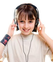 A girl wearing headphones