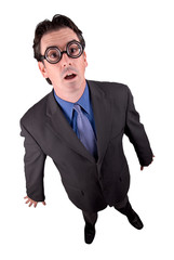 Businessman geek standing in a shocked position
