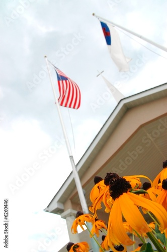 church flags and steeple