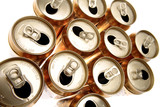 Open aluminum drink cans poster