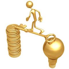 Golden Key Bridge Between An Idea And Euro Coins