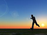 runner in the sunset - 3d illustration poster