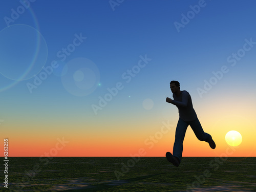 runner in the sunset - 3d illustration