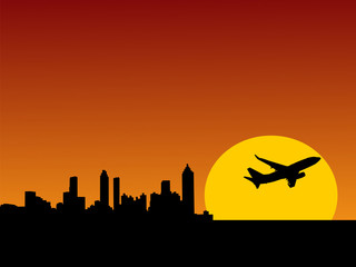 plane taking off from Atlanta at sunset illustration