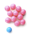 pink and blue bubble gum balls isolated on white poster