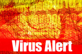 Virus Alert Warning Message on abstract technology background poster