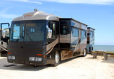 Motorhome camping on beach poster