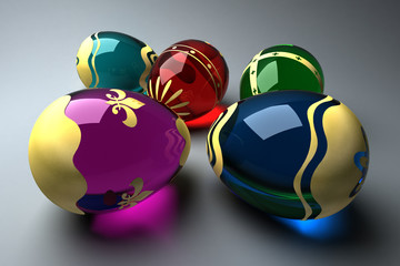 Glass easter eggs decorated with gold foil (3D rendering)