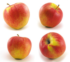One apple in various positions