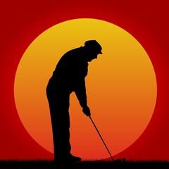 golfspieler - sonnenuntergang
