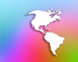 American outline map overlaid onto rainbow colored background poster