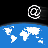Outline world map over blue with email symbol poster