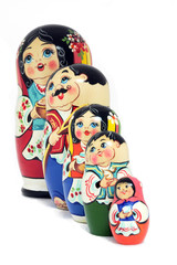 Russian Dolls family - isolated