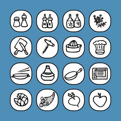 black and white icons set - cooking