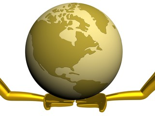 Globe laying on the extended hands. 3D image.