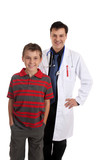 Happy healed patient standing with a doctor or pediatrician. poster