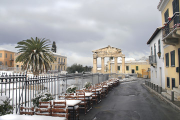 Athens, Greece - Winter season at roman agora