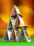 Card castle on felt table. Digital illustration poster