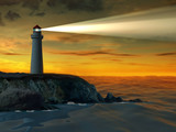 Guiding beacon from a lighthouse. Digital illustration.