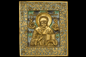 An ancient saint metallic icon