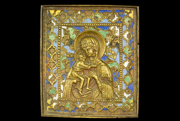 An ancient madonna metallic icon