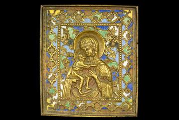 An ancient madonna metallic icon
