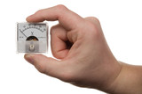 hand holds a voltmeter. Isolated on white [with clipping path].
