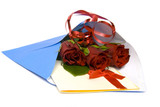 Red roses in the envelope on a white