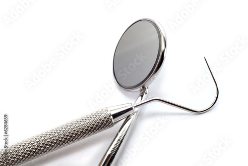 Isolated set of dentist tooks on white background.