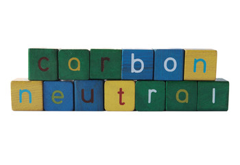 the words 'carbon neutral' isolated on white